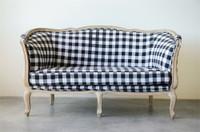 Buffalo Check Woven Fabric Sofa, Black & White