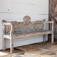 Antique Finish Wooden Bench