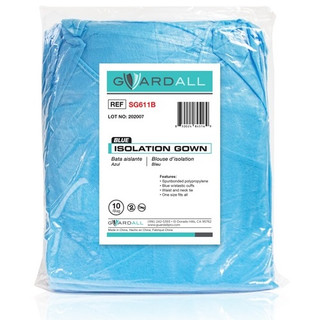 Isolation Gown, 25gsm PP Elastic Cuff, Blue
