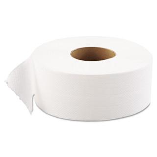"GEN1511 JRT Jumbo Bath Tissue, Septic Safe, 1-Ply, White, 9"" dia, 12 Rolls/Carton"
