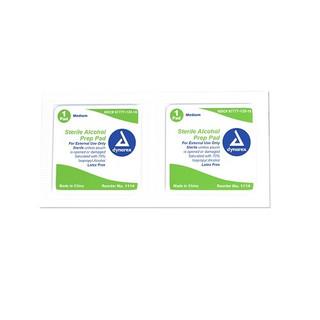 Dynarex DX1114 Alcohol Prep Pad, Medium, Sterile,  100/Box, 20 Boxes/Cs