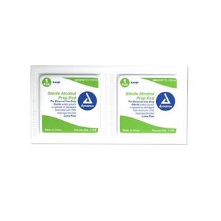 Dynarex DX1116 Alcohol Prep Pad, Large, Sterile, 100/Box, 10 Boxes/ Cs