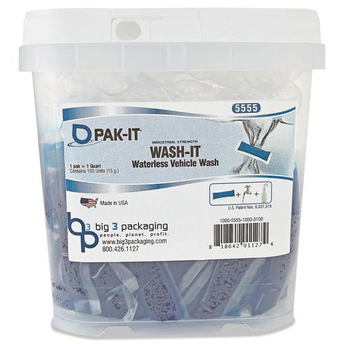 Wash-It Waterless Vehicle Wash, Breezy Scent, 100 PAK-ITs/Tub