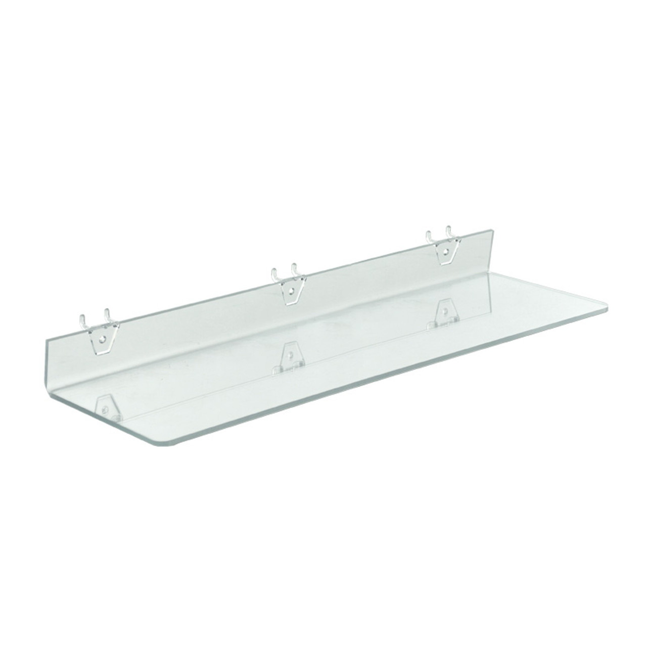 24 W X 6 D Clear Acrylic Shelf For Pegboard And Slatwall Azar Displays