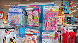 Kid's Retail Merchandise Pops on Blue Pegboard