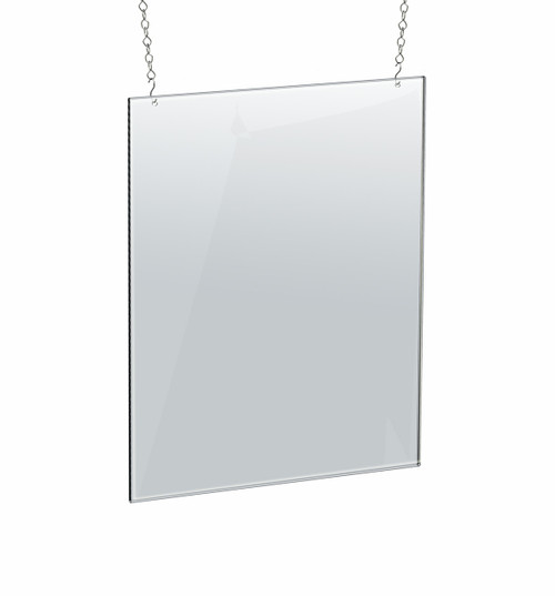 """Clear Acrylic Hanging Ceiling Poster Frame 18"""" Wide X 24"""" High Vertical/Portrait. Includes Hanging Hardware Kit"""