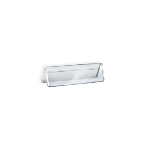 """Two Sided Tent Style Clear Acrylic Sign Holder and Nameplate, Size: 6"""" W x 2"""" H on each side"""