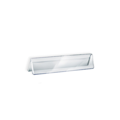"""Two Sided Tent Style Clear Acrylic Sign Holder and Nameplate, Size: 8.5"""" W x 2"""" H on each side"""