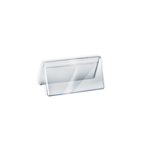 """Two Sided Tent Style Clear Acrylic Sign Holder and Nameplate, Size: 6"""" W x 3"""" H on each side"""