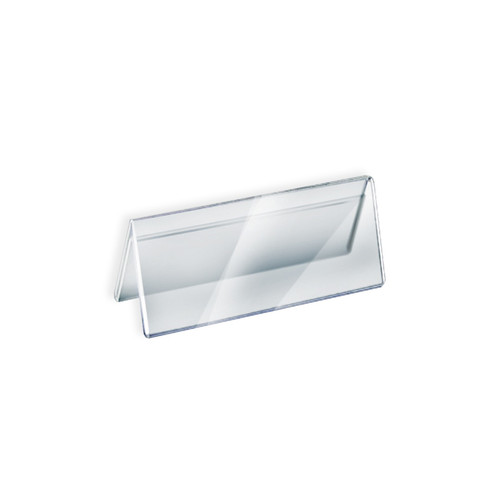"""Two Sided Tent Style Clear Acrylic Sign Holder and Nameplate, Size: 8.5"""" W x 3"""" H on each side"""