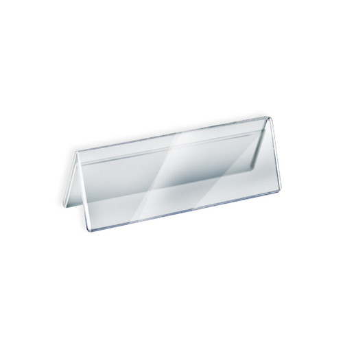 """Two Sided Tent Style Clear Acrylic Sign Holder and Nameplate, Size: 11"""" W x 3"""" H on each side"""
