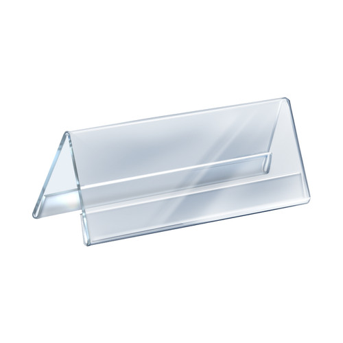"""Two Sided Tent Style Clear Acrylic Sign Holder and Nameplate, Size: 11"""" W x 4.25"""" H on each side"""