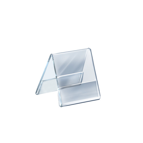 """Two Sided Tent Style Clear Acrylic Sign Holder and Nameplate, Size: 4.25"""" W x 5.5"""" H on each side"""