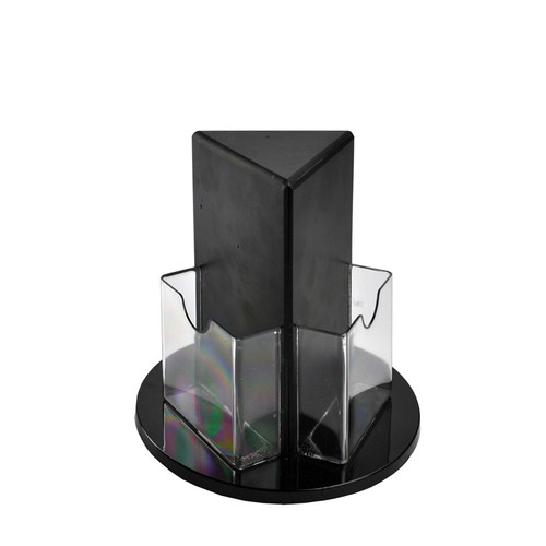 """CLOSEOUT: Tri-fold Size 3-Sided Brochure Holder on a 9"""" Revolving Base"""