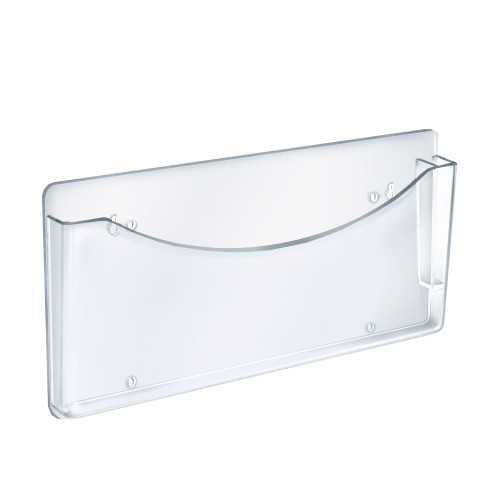 Clear Plastic Wall Mount File Holder with Pen Pocket, 2-Pack