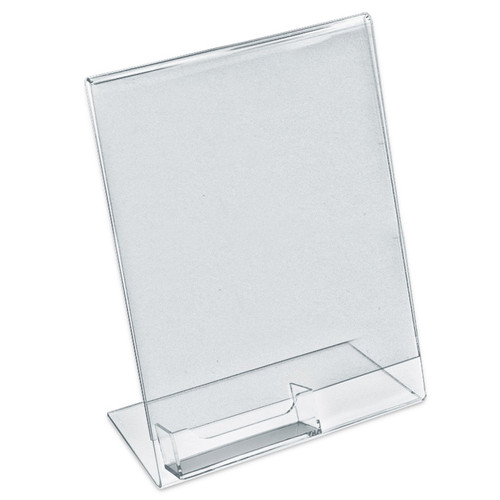 """Clear Acrylic Angled L-Shape Sign Holder Frame with Slant Back Design and Attached Business Card Pocket, Frame Size: 8.5""""W x 11""""H, 10-Pack"""