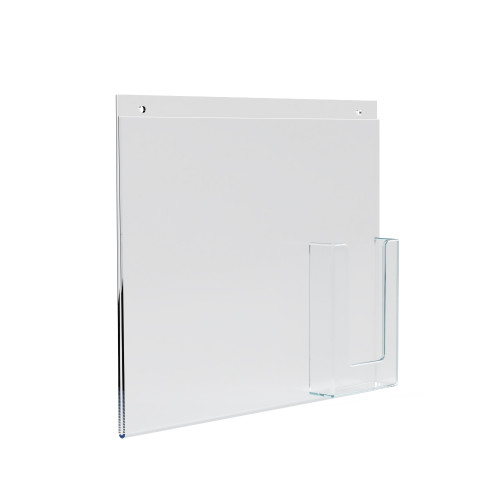 """Wall Mount Sign Holder w/ Trifold Pocket: 8.5""""W X 11""""H Graphic Size. Overall Frame Size: 14""""W x 11""""H"""