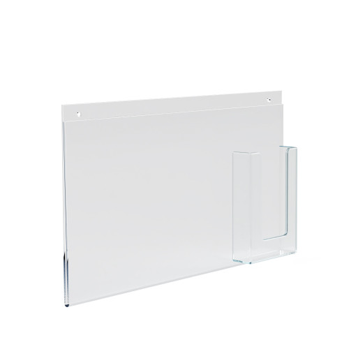 """Wall Mount Sign Holder w/ Trifold Pocket: 11""""W X 8.5""""H Graphic Size. Overall Frame Size: 16""""W x 8.5""""H"""
