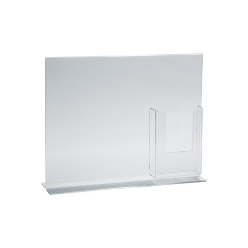 """Double-Foot Sign Holder w/ Trifold Pocket: 8.5""""W x 11""""H Graphic Size. Overall Frame Size: 14""""W x 11""""H"""