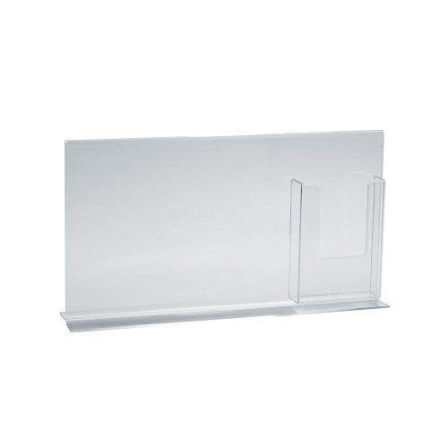 """Double-Foot Sign Holder w/ Trifold Pocket: 11""""W X 8.5""""H Graphic Size. Overall Frame Size: 16""""W x 8.5""""H"""