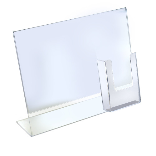 """L-Shaped Sign Holder w/ Trifold Pocket: 8.5""""W X 11""""H Graphic Size. Overall Frame Size: 14""""W x 11""""H"""