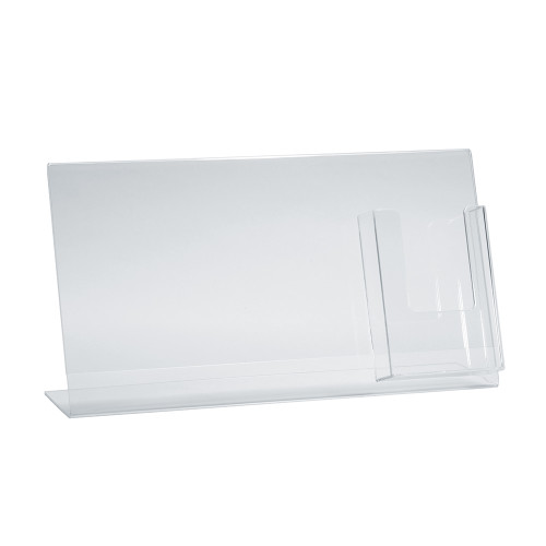 """L-Shaped Sign Holder w/ Trifold Pocket: 11""""W X 8.5""""H Graphic Size. Overall Frame Size: 16""""W x 8.5""""H"""