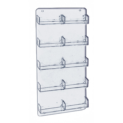 """Ten Pocket Business Card and Gift Card Wall Rack. Clear Acrylic Wall Mount Card Holder, Overall Size: 8.5"""" w x 15.75"""" h"""