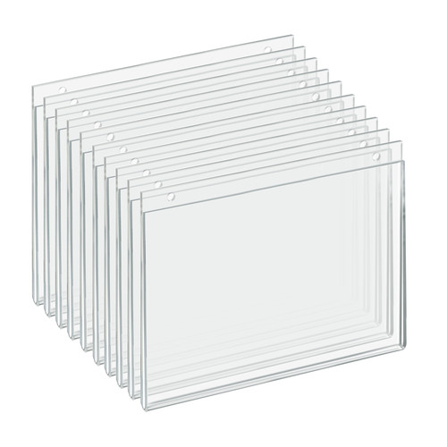 """Clear Acrylic Wall Hanging Frame 11"""" Wide  x 8.5'' High- Horizontal/Landscape, 10-Pack"""