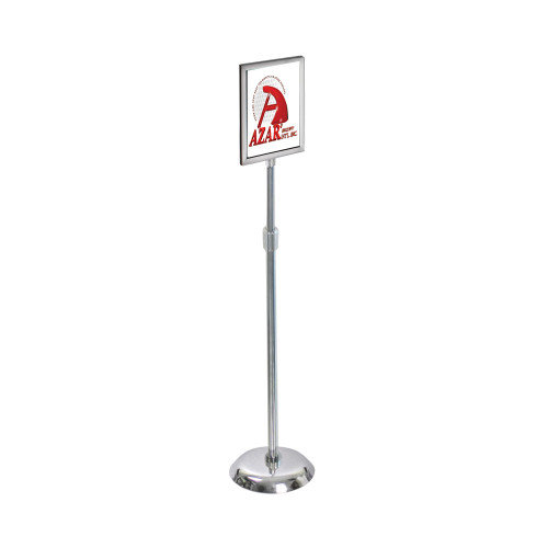 "8.5""W x 11""H Two-Sided Slide-In Floor Stand on Chrome Base"