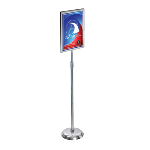 "11""W x 17""H Two-Sided Slide-In Floor Stand on Chrome Base"