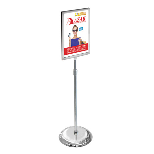 "14""W x 22""H Two-Sided Slide-In Floor Stand on Chrome Base"