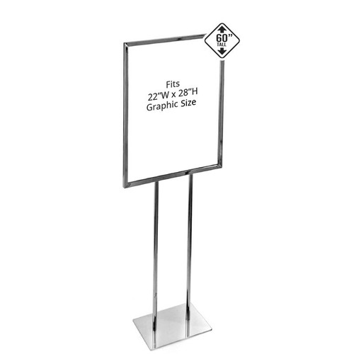 Chrome Panel Poster Stand on Narrow Base
