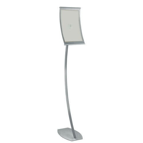 "8.5""W x 14""H Curved Metal Frame Floor Stand. Overall Height: 58"""