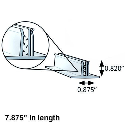 """Double T-Sign Holder 0.875"""" x 0.82"""" H Clear (7.875"""" length)"""