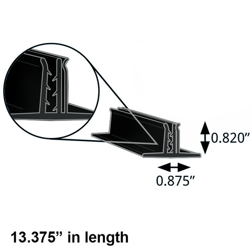"Black Double T-Sign Holder 0.875"" x 0.82"" H x 13.5""L"