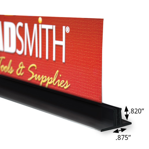 "Double T-Sign Holder 0.875"" x 0.82"" H Black (4"" length)"