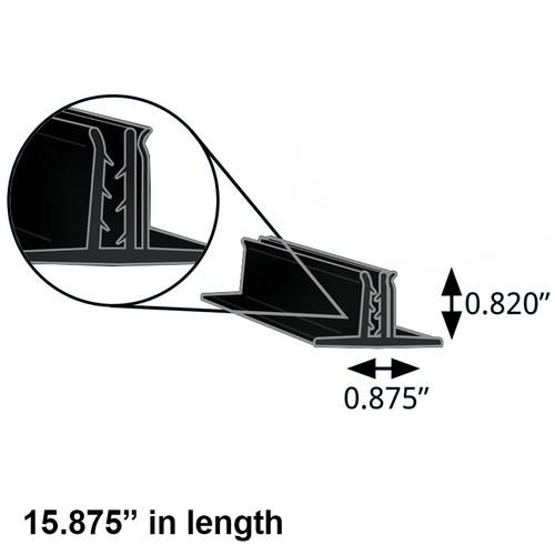 "Double T-Sign Holder 0.875"" x 0.82"" H Black (15.875"" length)"