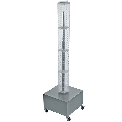 """Four-Sided Pegboard Tower Floor Display on Revolving Wheeled Metal Base. Spinner Rack Tower.  Panel Size: 4""""W x 48""""H"""