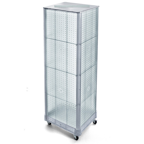 """Four-Sided Pegboard Tower Floor Display on Wheeled Base. Panel Size: 16""""W x 64.25""""H"""