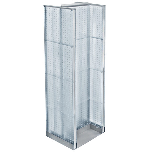 "H-Unit Pegboard Floor Display on Revolving Base. Spinner Rack Stand. Panel Size: 16""W x 60""H"