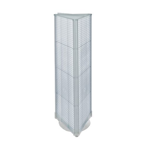 "Three-Sided Pegboard Tower Floor Display on Revolving Base. Spinner Rack Stand. Panel Size: 16""W x 60""H"