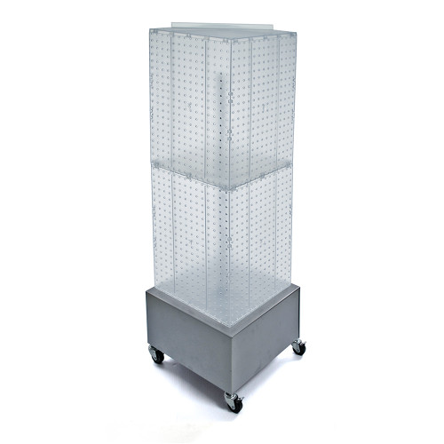 """Four-Sided Pegboard Tower Floor Display on Metal Wheeled Base. Spinner Rack Stand. Panel Size: 14""""W x 40""""H"""