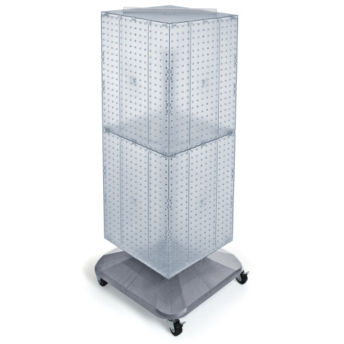 "Four-Sided Pegboard Tower Floor Display on Revolving Wheeled Base. Spinner Rack Stand. Panel Size: 14""W x 40""H"