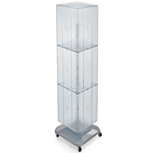 "Four-Sided Pegboard Tower Floor Display on Revolving Wheeled Base. Spinner Rack Stand. Panel Size: 14""W x 60""H"
