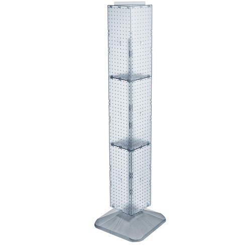 "Four-Sided Pegboard Floor Display on Revolving Base. Spinner Rack Tower. Panel Size: 8""W x 60""H"