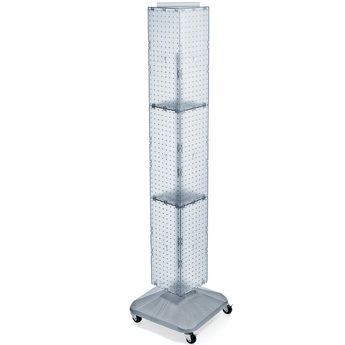 "Four-Sided Pegboard Floor Display on Wheeled Revolving Base. Spinner Rack Tower.  Panel Size: 8""W x 60""H"