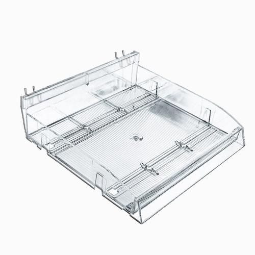 "Modular Adjustable Divider Bin Tray-Gravity Fed (Clear) 12"" Wide (Includes 2 Slant U-hooks)"