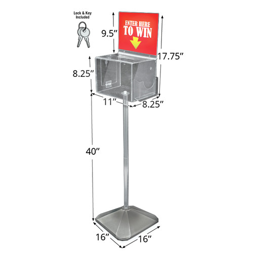 Extra Large Acrylic Suggestion Box with Lock and Keys on Pedestal. Color: Clear