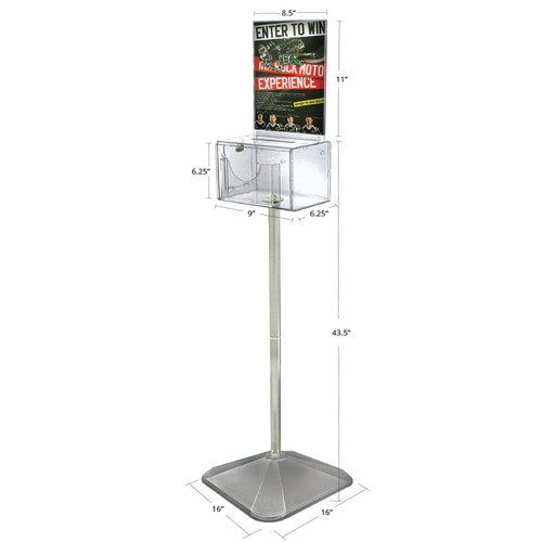 Large Lottery Box with Pocket, Lock and Keys on Pedestal. Color: Clear