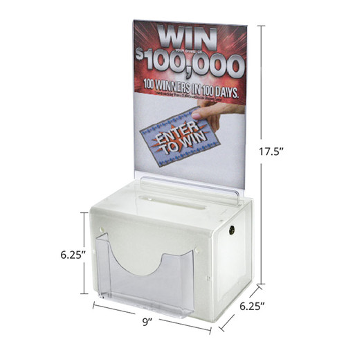 Large Acrylic Lottery Box with Lock and Keys. Color: White